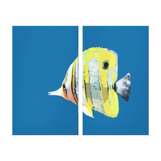 Two Panel Copper-banded Butterfly Fish Canvas Print