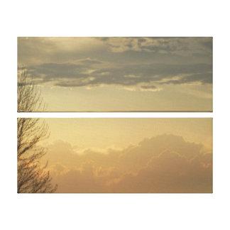 Two Panel Pale Colors Cloudy Skies Canvas Wrap Canvas Print