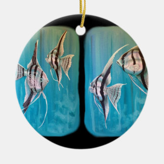 Two panels of marble angel fish oil painting ceramic ornament