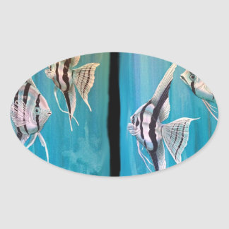 Two panels of marble angel fish oil painting oval sticker