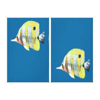 Two Panels with Two Copper-banded Butterfly Fish Canvas Print