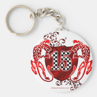 two panthers hold racing number 15 keychain
