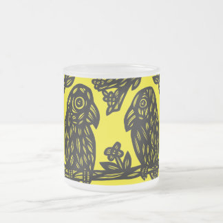 Two Parrots Black Yellow 10 Oz Frosted Glass Coffee Mug