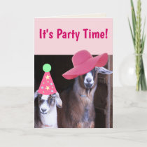 Two Party Goats Funny Birthday Card