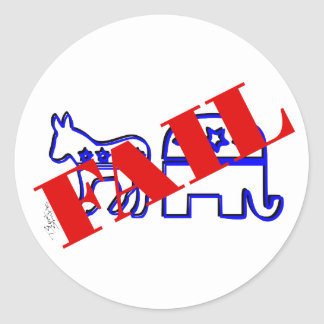 Two Party System Fail Round Stickers