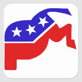 Two Party System Square Stickers