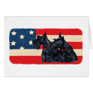 Two Patriotic Scottish Terriers Greeting Card