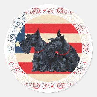 Two Patriotic Scottish Terriers Classic Round Sticker
