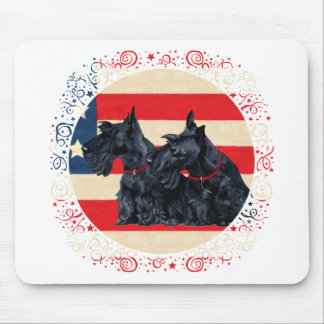 Two Patriotic Scottish Terriers Mouse Pad