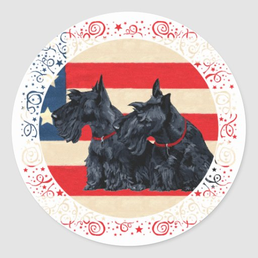 Two Patriotic Scottish Terriers Round Stickers