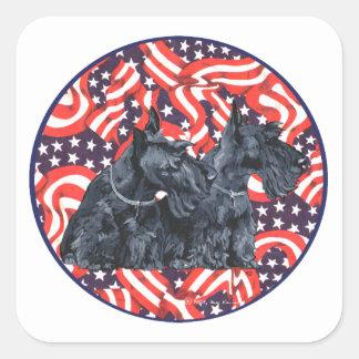 Two Patriotic Scottish Terriers Sticker