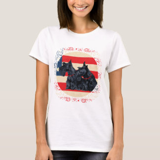 Two Patriotic Scottish Terriers T-Shirt