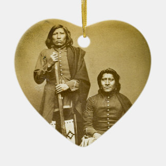 Two Pawnee Scouts 1870s Stereoview Vintage Ceramic Ornament