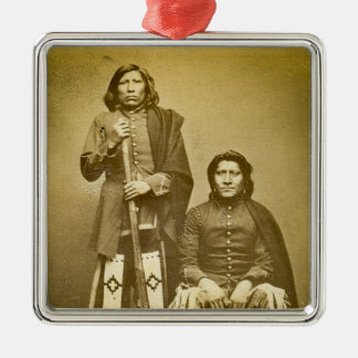 Two Pawnee Scouts 1870s Stereoview Vintage Metal Ornament