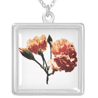 Two Peach Carnations Square Pendant Necklace
