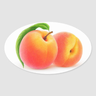 Two peaches oval sticker