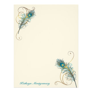 Two Peacock Feathers and Golden Swirls with Teal Letterhead