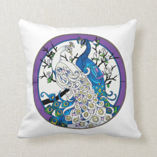 Two Peacocks Throw Pillow by American MoJo