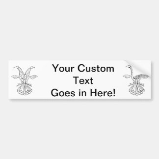 Two peacocks vintage animal jagged sketch.png bumper sticker
