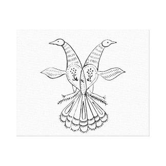 Two peacocks vintage animal jagged sketch.png canvas print