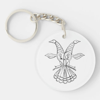 Two peacocks vintage animal jagged sketch.png Double-Sided round acrylic keychain