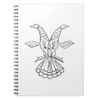 Two peacocks vintage animal jagged sketch.png notebook