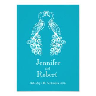 Two Peafowl teal white wedding invitation