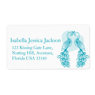 Two peafowl wedding return reply label