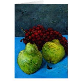 two pears with grape vine card