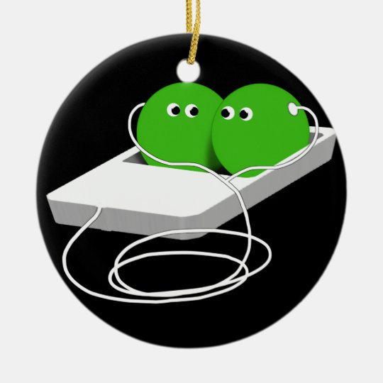 Two Peas In A Pod (Add Your Text) Ceramic Ornament