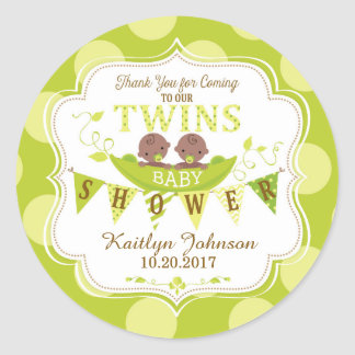 Two Peas in a Pod African Twins Thank You Label