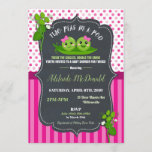 Two Peas in a Pod Twin Baby Girls Baby Shower Invitation