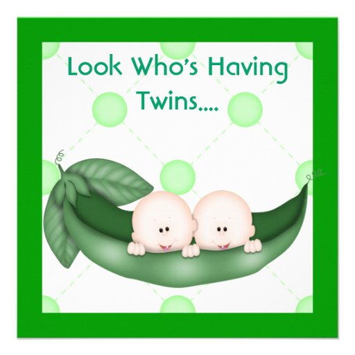 TWO PEAS IN A POD BABY SHOWER  INVITATION  GIRL OR (front side)