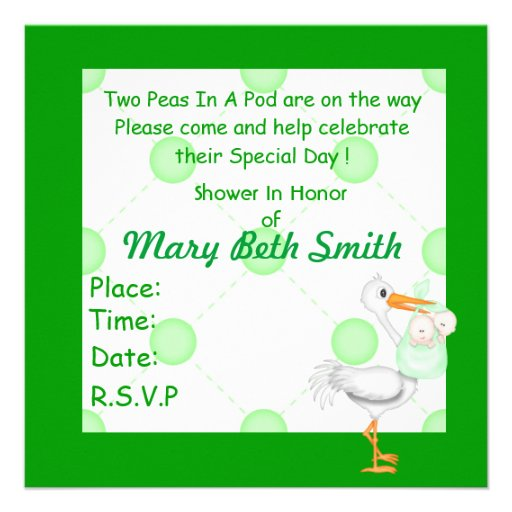 TWO PEAS IN A POD BABY SHOWER  INVITATION  GIRL OR (back side)