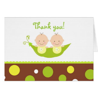 Two Peas In A Pod  Baby Shower Thank you note card