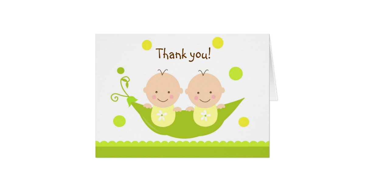 Two Peas in A Pod Baby Shower Thank you note card | Zazzle.com