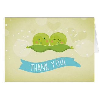 Two peas in a pod Baby shower Thank you Twin boys Card