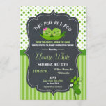 Two Peas in a Pod Boy & Girl Twins Baby Shower Invitation