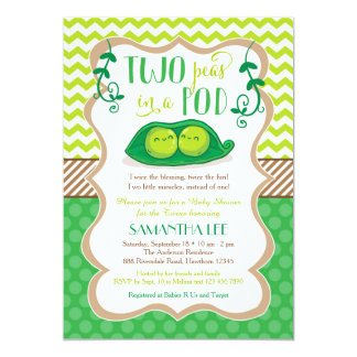 two peas in a pod baby shower twins invitation