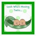 TWO PEAS IN A POD BABY SHOWER TWINS INVITATIONS