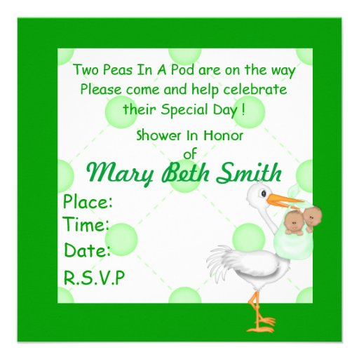 TWO PEAS IN A POD BABY SHOWER TWINS INVITATIONS (back side)