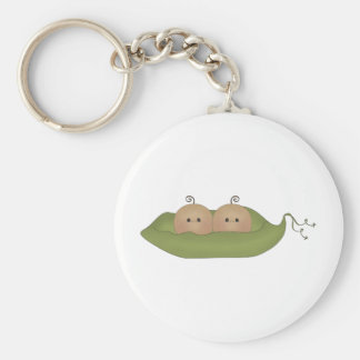 Two Peas In A Pod Basic Round Button Keychain