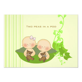 Two Peas in a Pod Birth Annoucement Card