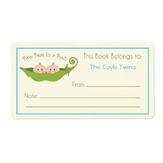 Two Peas In A Pod     Bookplate Shipping Label