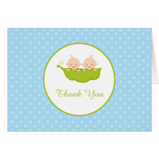 Two Peas in a Pod, Boy Twins Thank You Card