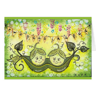 Two peas in a pod! greeting card