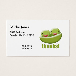 Two Peas In A Pod Give Thanks Business Card