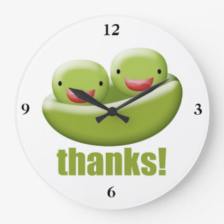 Two Peas In A Pod Give Thanks Large Clock