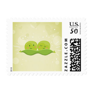 Two Peas In A Pod Postage Stamps Baby shower twins