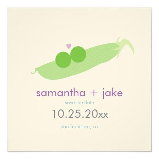 Two Peas in a Pod Save the Date: Cream Felt Paper Personalized Invite